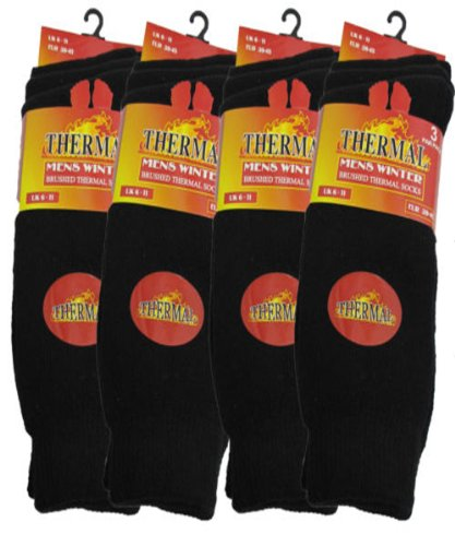 3 Pairs Mens Short Black Thermal Socks 6-11