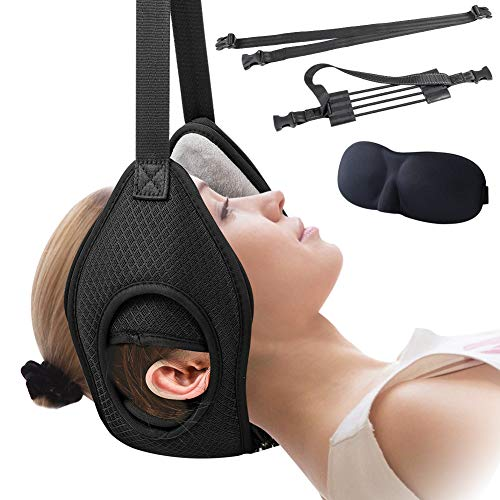 Neck Head Hammock,APLOS Neck Traction Device,Elastic Safety Cords & Adjustable Straps - Traction Equipment for Neck Pain,Muscle Relaxation & Physical Therapy