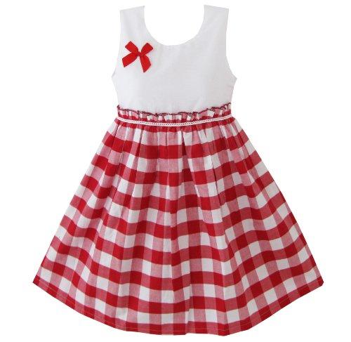 Mädchen Kleid Rot Schottenkaro Gr.116-122