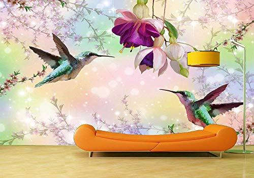 Fotobehang Fotobehang Grote Muurschildering Vogel Met Bloemen Fotobehang Muurstickers De Parede 3D Behang-300x210cm(118.1by82.7in)
