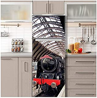 Wizard Express Train Fridge Wrap. ONE Piece Sticky Mural, Decal, Skin, Cover, Poster for Door, Wall or Fridge. Railway Station (Variant 1, 30