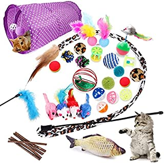 PETSLY 28-Pcs Cat Toys Kitten Toys Assorted, Cat Tunnel Catnip Fish Toy Interactive Feather Teaser Wand Fish Fluffy Mouse ...