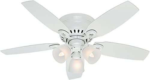 popular Hunter Fan Company 52087 Hunter online sale Hatherton online Indoor Low Profile Ceiling Fan with LED Light and Pull Chain Control, 46-inch, White online sale