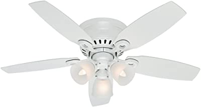 Hunter 52087 Hatherton Indoor Low Profile Ceiling Fan with LED Light and Pull Chain Control, 46-inch, White