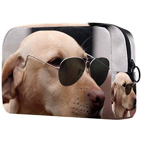 Große Reise Kulturtasche Hundesonnenbrille Kulturbeutel Kosmetiktasche Waschtasche für Kinder Frauen Mädchen Damen 18.5x7.5x13cm