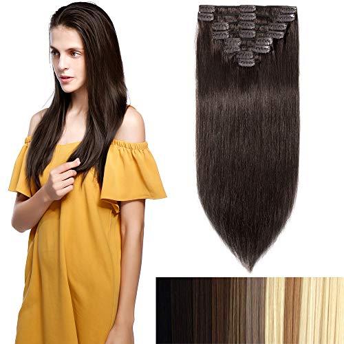 100% Remy-Echthaar Clip-In-Extensions für komplette Haarverlängerung 90g-40cm (#2 Dunkelbraun)