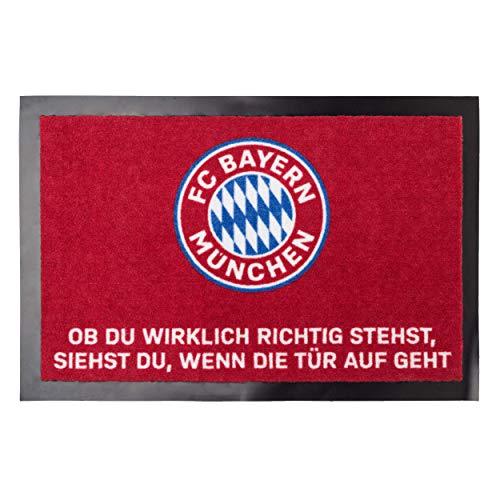 FC Bayern München Fußmatte Ob Du wirklich richtig stehst, siehst du, wenn die Tür aufgeht ca. 40 x 60 cm