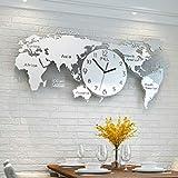 AWCVB Mapa del Mundo Tablas PM Pared Nórdica Decorativa Salón Reloj De Pared Ambiente Moderno del Reloj del Diseño De La Personalidad De La Moda Minimalista,Dinero