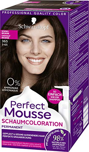 SCHWARZKOPF PERFECT MOUSSE Permanente Schaumcoloration 365 Schokobrownie Stufe 3, 3er Pack (3 x 92,5 ml)