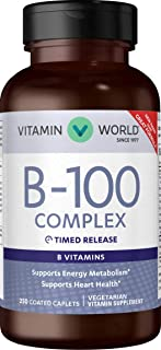 Vitamin World B-100 Complex Timed-Release 250 Caplets, Supports Energy Metabolism, Heart Health, Vegetarian, Coated, Timed...