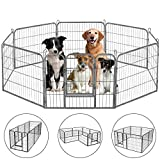 HONGFENGDZ Dog Playpen Puppy Playpen Dog Pen Indoor Outdoor Metal Pet Play Yard Fence Rabbit Bunny Enclosure Heavy Duty Kennel Gate for Small Medium Dogs