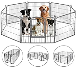 HONGFENGDZ Dog Fence Puppy Pen Outdoor Pet Playpen Portable Dog Kennel Indoor Large Enclosure Heavy Duty Metal Play Yard Gate for Small Medium Dogs Rabbits Cats 8 Panels
