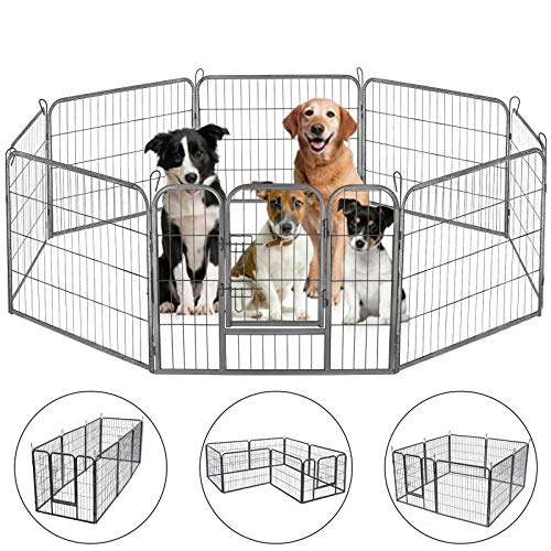 generic puppy playpens HONGFENGDZ Dog Fence Puppy Pen Outdoor Pet Playpen Portable Dog Kennel Indoor Large Enclosure Heavy Duty Metal Play Yard Gate for Small Medium Dogs Rabbits Cats 8 Panels