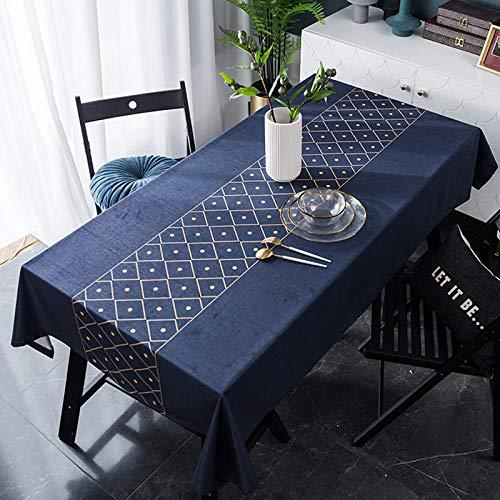Yinaa Mantel de Tela Impermeable Antimanchas Arte Hogar de Franela de Lujo Ligero Disponible en Varias Medidas Azul Oscuro 140 × 140cm