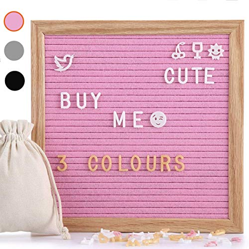 Tablero de letras de fieltro con 510 letras reemplazables y emojis, 25,4 x 25,4 cm, madera de roble macizo, con gancho de metal en la pared, decorativo, color rosa
