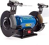 SCHEPPACH SM150LB Amoladora de Banco Mixta con Discos ásperos de Lijado y Cepillo de Aluminio e iluminación LED, 400W de potencia, Azul