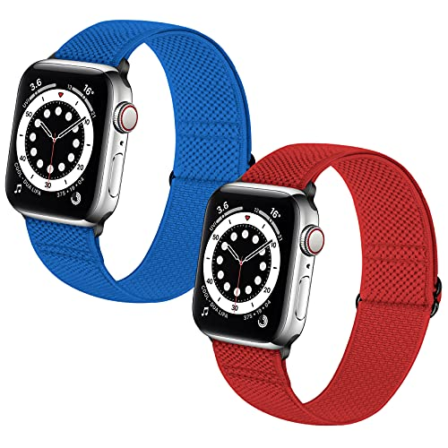 Neoxik Soft Nylon Braided Elastic Watch Bands Compatible with Apple Watch 42mm 44 mm,Adjustable Sport Breathable Wrist Strap for iWatch Series 6 5 4 3 2 1 SE