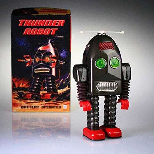 Tr2015 Tin Toy Robot de Thunder Battery Operated Espace Jouet New Retro Noir
