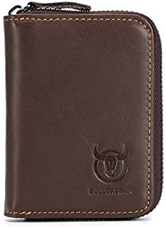 Genuine Leather Men Wallet Card Holder Cards Zipper Credit Card Pack Case Purse (Brown)