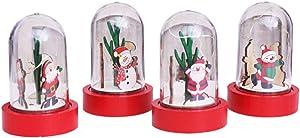 OSALADI Christmas Glass Dome Lamp Snow Globe with Glowing Christmas Bottle Light LED Christmas Night Light Holidays Festival Desktop Ornament (Santa Claus 1)