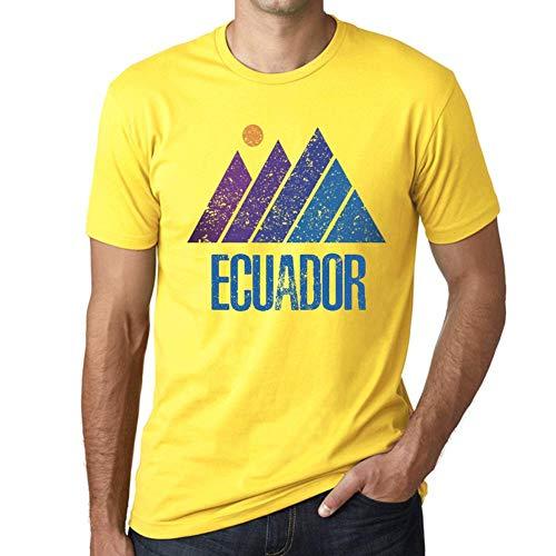 One in the City Hombre Camiseta Vintage T-Shirt Gráfico Mountain Ecuador Amarillo