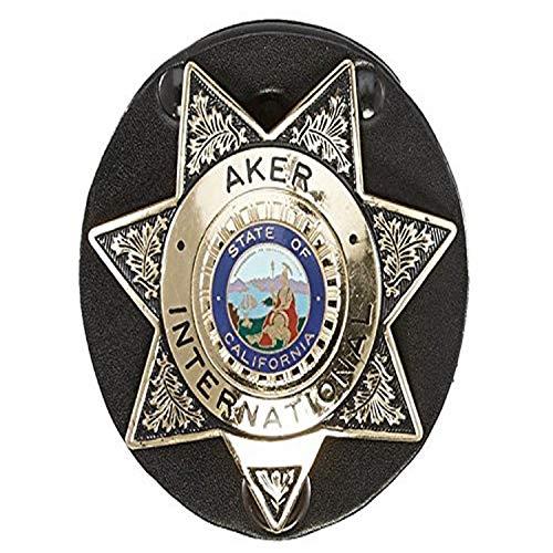 Aker Leather 592 Clip-On Star Badge Holder, Black