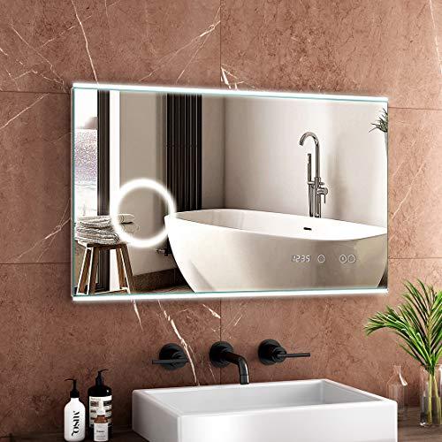 Safeni LED badspiegel mit Beleuchtung Anti-Beschlag Lichtspiegel Wandspiegel mit 5-Fach Vergrößerung+Touch-Schalter+Digitaluhr IP44 Energiesparende - Kaltweiß Lichtspiegel (100x60cm)