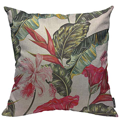 Mugod Floral Decoration Throw Pillow Cushion Covers Tropical Palm Leaves Hibiscus Orchid Bird of Paradise Flower Decorator Funny Pillows for Sofa Fall Home Decor Couch Pillow Case 18 X 18 Inch