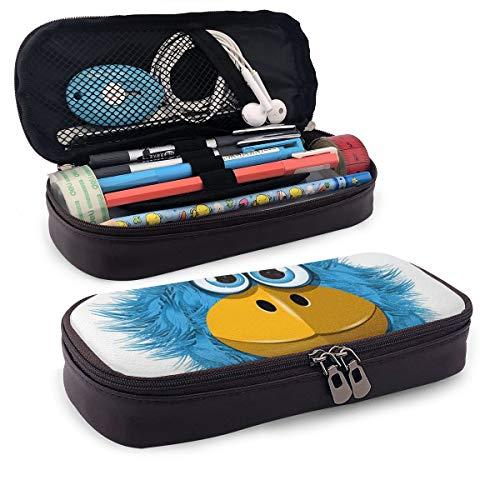 Schattig potlood CaseFunny blauwe vogel met grote ogen en snavel veren schattig gek monster mascotte figuur perfecte houder voor potloden en pennen