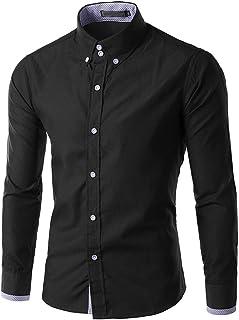 HX fashion Camisa De Manga Larga Con Botones De Ocio Para Tamaños Cómodos Hombre Camisa De Manga Larga De Color Puro Camis...