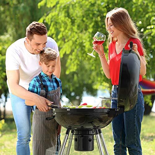 TACKLIFE Holzkohle Grill, Kugelgrill 91 * 76 * 56 cm, ø 57cm mit 4 Dicke Beine, Rundgrill mit Extra Grill und Regal, geeignet für Partys, Camping, Grillen (Empfohlene: 5-12 Personen) - CG01A - 2