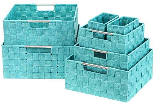 Sorbus Storage Box Woven Basket Bin Container Tote Cube Organizer Set Stackable Storage Basket Woven Strap Shelf Organizer Built-in Carry Handles 7 Piece - Aqua