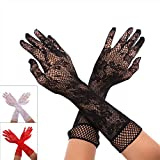 Skywalk Women's Long Ruffled Stretch Opera Lace Gloves (Black)