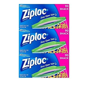 Ziploc Snack Bags, Snack, 3 Pack, 90 ct
