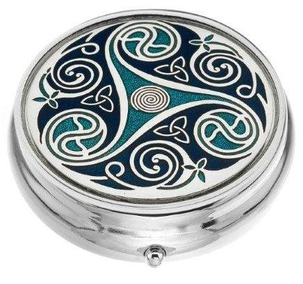 Pill Box (Large Size) in a Triskeles and Trinity Knot Design in Blue Color
