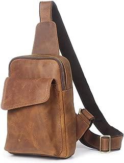 Mens Bag Zipper Leather Messenger Bag Shoulder Bag Retro Casual Men's Chest Bag High capacity