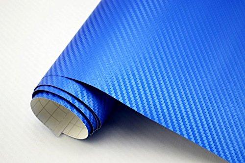 Neoxxim 3,29€/m² Auto Folie - 3D Carbon Folie - BLAU METALLIC - 100 x 150 cm - Meterware blasenfrei mit Luftkanälen Premium