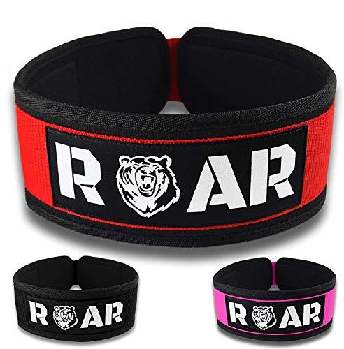 Roar® Cintura Palestra Uomo, Cintura Powerlifting, Cintura Bodybuilding, Cintura Pesi, Cintura Sollevamento Pesi,Cintura Crossfit,Cintura da Palestra,Cinta Powerlifting, Fitness Belt (Rosso, L)