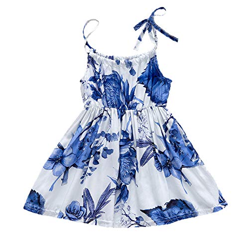 YOUNGER TREE Toddler Baby Girls Summer Floral Dress Sleeveless Princess Party Casual Holiday Dress Beach Sundress (Blue, 18-24 Months)