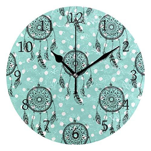 Meili Shop Horloge Murale Ronde Dream Catcher Native Style Home Art Decor Horloge pour Le Bureau à Domicile