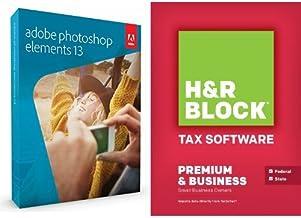 Adobe Photoshop Elements 13 + Block Financial H&R Block Tax Software 14 Premium & Business
