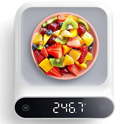 Balance de Cuisine Numérique, Electronique Balance de Haute Précision Poids Jusqu'à 5 kg (Précision 1g) - Balance de Alimentaire Multifonctionnel avec LED Écran - Fonction Tare, Fonction Tactile