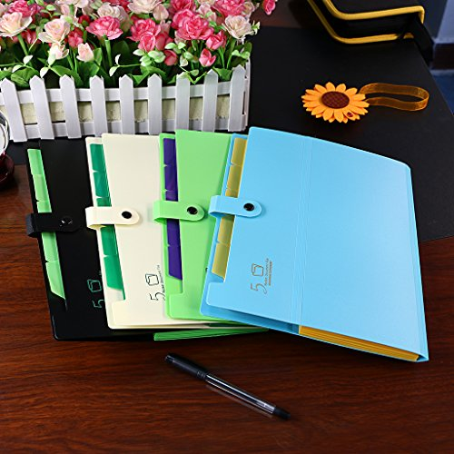 5-Pocket Expanding File with Button Closure, A4 Size Accordion File Folder Organizer Binder Wallet for Paper Projects Cards Bills Receipts Checks Invoice Pouch School & Office Supply, Green Photo #7