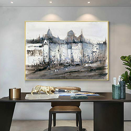 Textured thick abstract architectural painting oil painting on canvas wall art picture living room home decoration 60x90 Frameless