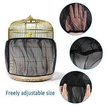 Dadabig Housse pour Cage Oiseau en Maille Housse Protection Cage Oiseau Couverture de Cage Oiseaux Attrape-graines de Cage Oiseaux Taille L (Noir)