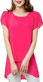 t-Shirt Camicia da Donna di Moda Camicia a Maniche Corte in Chiffon a Maniche Corte da Donna Camicia Estiva Blusa