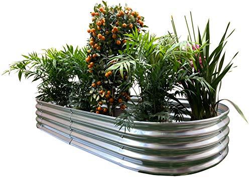 "Oval Metal Raised Garden Bed Planter 82""x34""x12"""