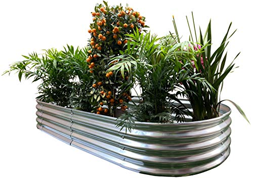 Maceta ovalada elevada de metal para jardín de 208 x 86 x 30 cm.