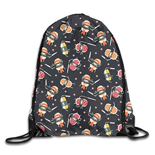 Sushi Knife Cute Japanese Best Black Patterned Themed Printed Drawstring Bundle Book School Shopping Travel Back Bags Draw String Gym Backpack Bulk Girl Boy Women Men