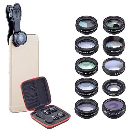 10 en 1 Lente de la cámara de la cámara del teléfono celular Lente de gran angular y lente macro + lente de ojo de pez + Lente de teleobjetivo + CPL / FLOW / RADIAL / FILTRO DE STAR + KALEIDOSCOPE 3/6